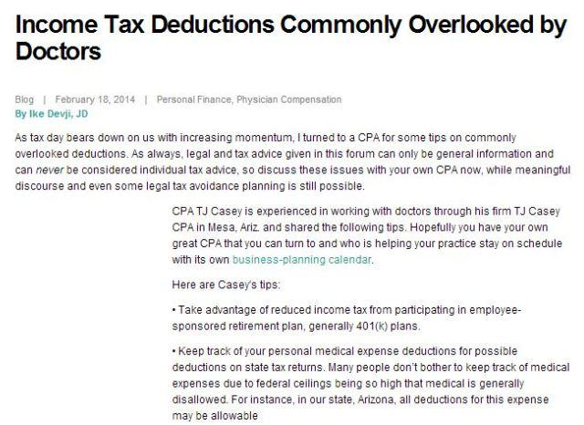Some Important but Commonly-Overlooked Tax Deductions for Doctors
